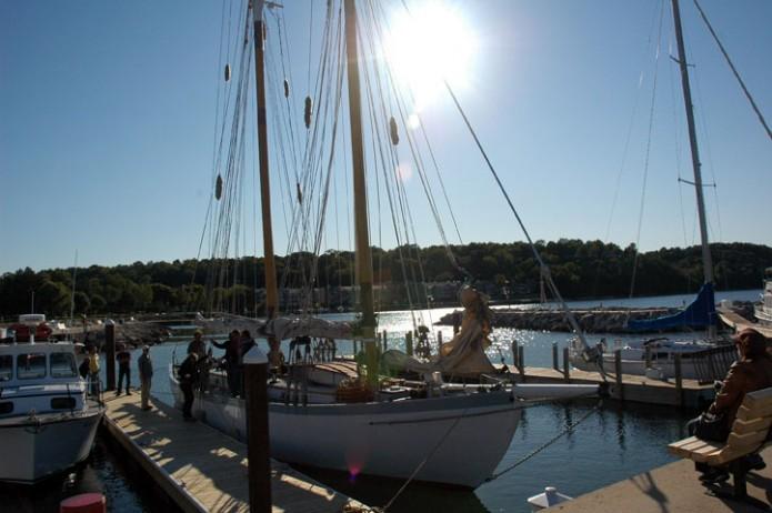 people boarding sailboat